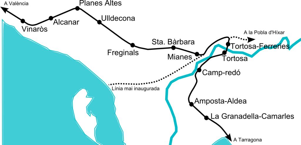 Fig 1. Situació a la zona de Tortosa a l'any 1980. En discontinu línies fora de servei o mai acabades
