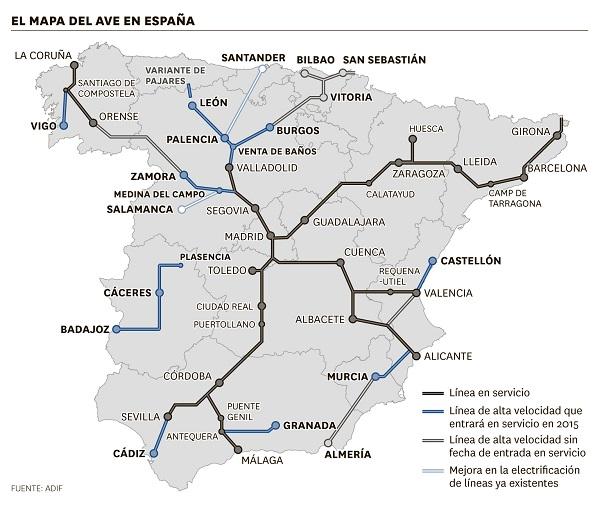 Mapa AVE 2015