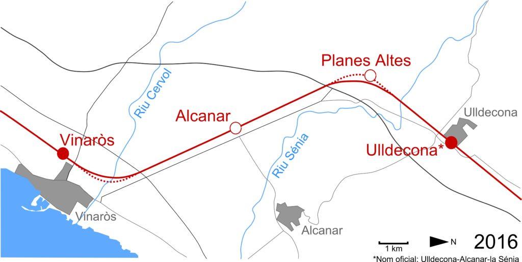 Fig 1. Mapa de la zona amb les dependències ferroviàries remarcades. Elaborat per Adrià Pàmies a partir d'Ortofotomapa vigent (2016) ICGC.