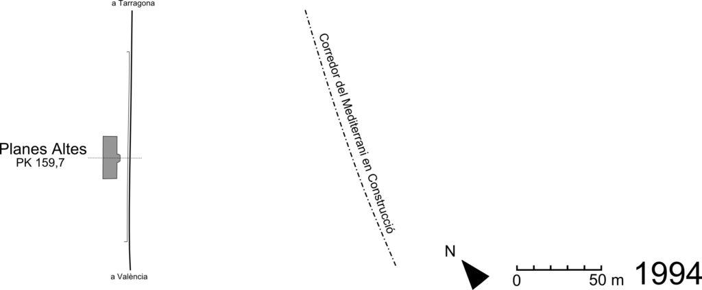 Fig 3. Esquema de la dependència de Planes Altes a l'any 1994. Elaborat per Adrià Pàmies a partir de l'Ortofotomapa corresponent de l'ICGC.