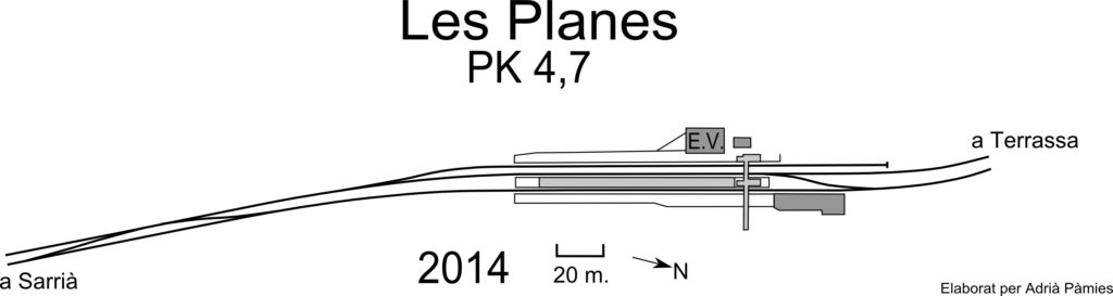Fig. Esquema de vies de l'estació de les Planes. Elaborat per Adrià Pàmies a partir d'Ortofotomapa ICGC.