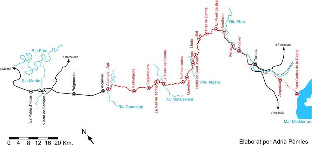 Fig. Plànol de la línia. En vermell continu apareix el tram inaugurat entre 1939 i 1941. En vermell discontinu, apareix el tram no finalitzat fins a Sant Carles. Autor: Adrià Pàmies sobre mapa topogràfic IGN.