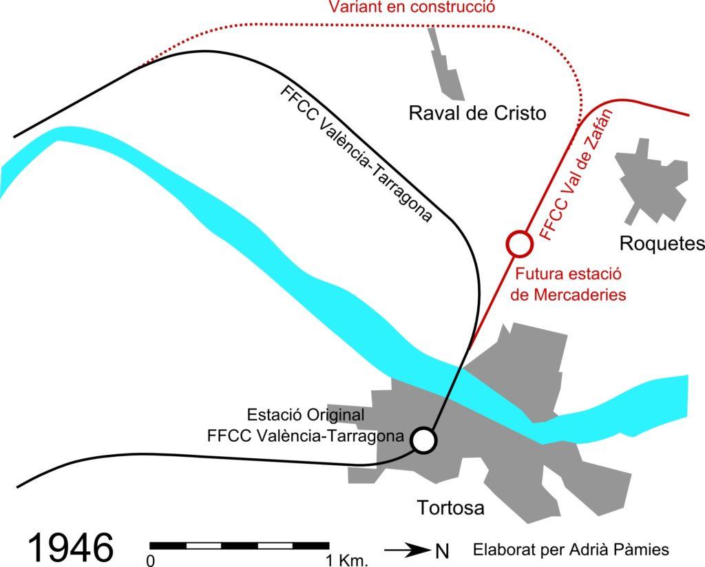 Fig. Plànol de la zona de Tortosa a l'any 1946. Autor: Adrià Pàmies a partir del fotomapa de 1946 de l'Exèrcit Americà.