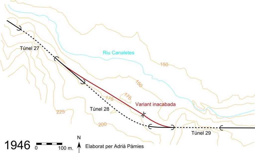 Fig. Plànol de la zona propera al túnel 28. Autor: Adrià Pàmies a partir de plànol topogràfic ICGC i fotomapa 1946 de l'Exèrcit Americà.